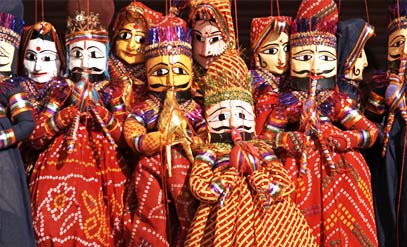 Group of coloful puppets Jaipur, Rajasthan, India