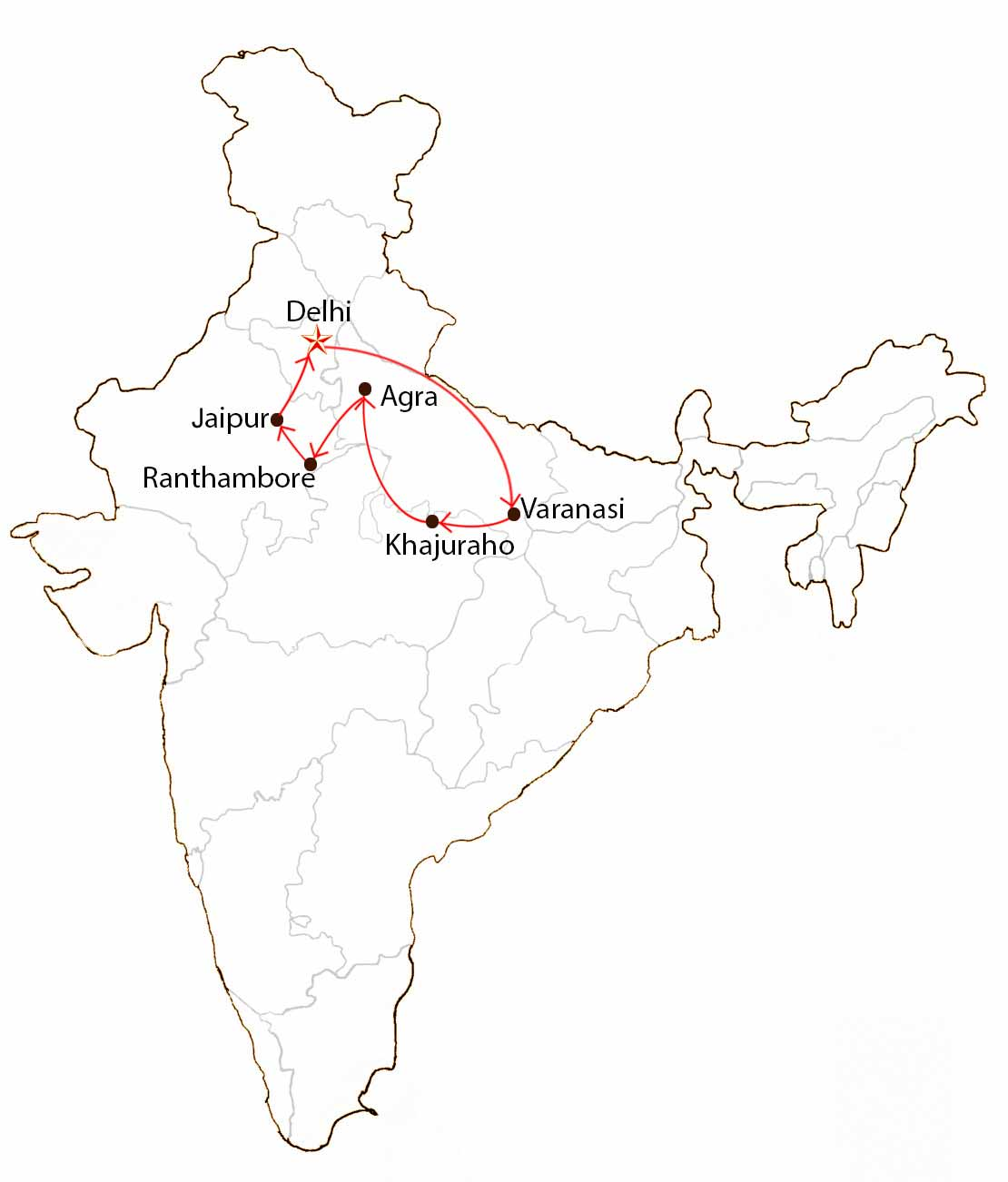 Highlights of Northern India  Map