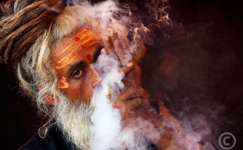 Monk celebrating the divine Lord Shiva